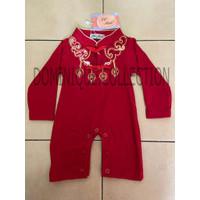 Baju Romper Jumper Imlek Cheongsam Bayi Laki-laki - Merah, 0-3 Bulan