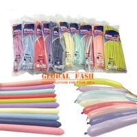 Balon Panjang pastel isi 100 / Pentil / Twist / Magic / Cacing macaron - Biru Muda