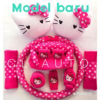 Bantal 9 in 1 Hello Kitty Warna Pink / Bantalan Mobil 9in1 Sarung Stir