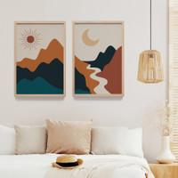Lukisan Print Art Dekorasi Dinding Rumah Wall Decor Bingkai Kayu