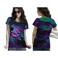 Baju Kaos Tshirt Wanita Abstrak Astronot Luar Angkasa Art 01&02
