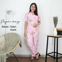 IZANY Piyama CP satin apple Set kemeja / Daily Set/pajamas /baju tidur