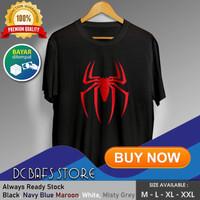 Baju Kaos Tshirt Superhero Super Hero Dewasa Marvel Logo Spiderman - Putih, M