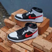 Sepatu NIKE AIR JORDAN 1 Mid Black Chile Red White - 9.5