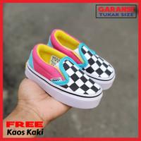 Sepatu Bayi Vans Slip On Catur Multi Color Usia 6-24 Bulan Size 16 20