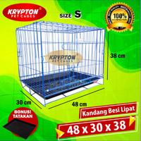 KANDANG BESI LIPAT 48 (48x30x38) Anjing Kucing Kelinci Tupai Musang