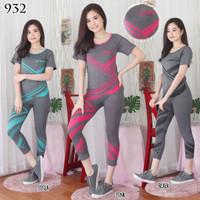 Setelan baju senam aerobik/ fitness olahraga import wanita terbaru