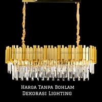 Lampu Gantung Kristal Panjang 80cm 8l gold mewah meja makan