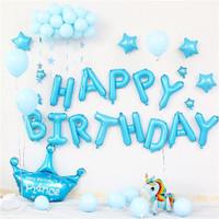 [PAKET] BIRTHDAY Set BLUE CROWN UNICORN Dekorasi Backdrop Ultah