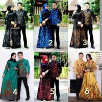 Baju Couple Batik Gamis Muslim Jumbo Pasangan Sarimbit Keluarga