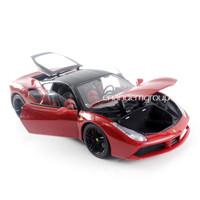 Burago Diecast Miniatur Mobil Koleksi Ferrari 488 GTB Signature 1:18