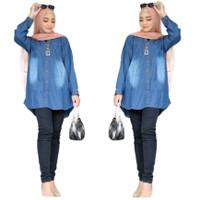 Kemeja Denim Wanita Jeans Jumbo Lengan Panjang LD 110 - Dark Blue