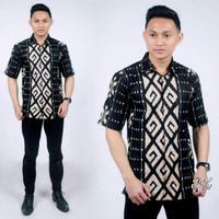 baju batik kemeja batik pria S.M.L.XL.XXL JUMBO monochrome songket kot