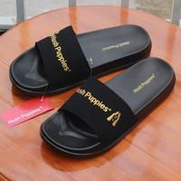 Sandal Slide Hush Puppies Black Varcity Gold Sendal Slop Pria Original
