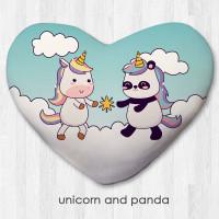 Bantal Dekorasi bentuk hati / kado valentine - Unicorn and Panda - S