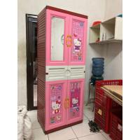 Lemari Pakaian Plastik Gantung Hello Kitty Ivory + Kaca dan Kunci