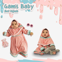 Gamis Bayi Perempuan Set Hijab | Baju Gamis Balita Perempuan Cantik