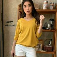 Atasan Wanita V neck Basic Knit Top - Kuning