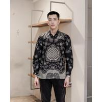 Kemeja Batik Pria   Lengan Panjang   Regular Fit   Adara Black - XXL