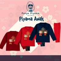 Piyama Baju Tidur Anak Laki Perempuan Imlek Duo Gold OX New Year - MAROON, S