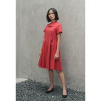 Veyl Chan Dress Cheongsam Wanita Bahan Wool Merah