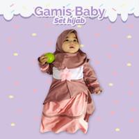 Gamis Bayi Perempuan Cantik Set Hijab | Baju Gamis Balita Set Hijab