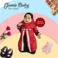 Gamis Bayi Perempuan Set Hijab | Baju Gamis Balita Perempuan + Hijab