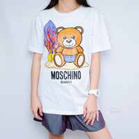 Moschino Surfing White Tee (100% Authentic) - XS