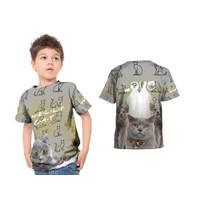 2S5 - Baju Kaos Tshirt Anak Gambar Hewan Kucing Cat Lovers Fullprint