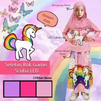 baju unicorn LED anak perempuan setelan rok muslim set kerudung anak