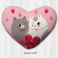 Bantal Dekorasi bentuk hati / kado valentine - Love Cat