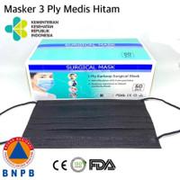 Masker Hitam 3ply Earloop isi 50 pcs Medis Grade i-care Black Edition