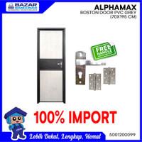PINTU KAMAR MANDI WC ALPHAMAX BOSTON DOOR PVC 70X195 GREY ALUMINIUM