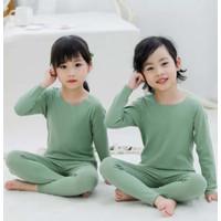 Baju Tidur Piyama Anak / Polos Uniqlo Long John Katun Stretch PJ022-27