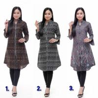 Baju Batik Wanita Tunik Lengan Panjang Motif Lurik Zipper Terbaru