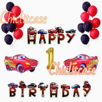 set paket balon ulang tahun cars mobil banner dekorasi pesta - Umur 1