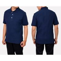Kaos Polo Shir Baju Kerah Distro NAVY BiRU DONGKER polos custom sablon