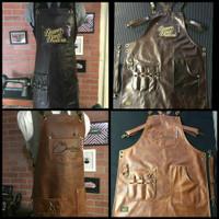Apron/celemek premium pu leather X strap barista/barber plus bordir