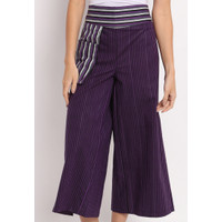 Celana Kulot Batik Wanita Bahan Lurik Momo Purple Set Masker