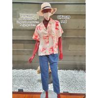 Atasan wanita baju kemeja katun jumbo big size XL ombre Tie Dye Shirt - Merah