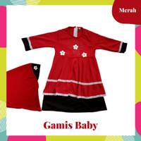 Baju Gamis Anak Perempuan + Hijab   Gamis Balita Cewek Set Hijab - Merah, S