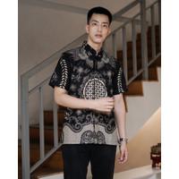 Kemeja Batik Pria | Lengan Pendek| Regular Fit | Adara Black - XXL