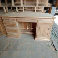 meja kantor 1 biro kayu jati mentah