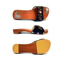Sandal Slop Wanita Kayu Natural/ Sandal Bakiak Klompen