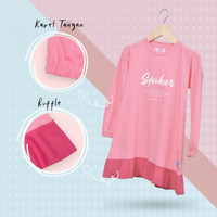 Tunik Anak Cewek Islam Baju Ngaji 3 - 12 Tahun Perempuan AmmarKids - S, Pink