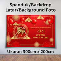 SPANDUK BANNER BACKDROP LATAR FOTO TAHUN BARU CHINA IMLEK 1 2021 3mX2m