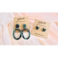 Hoop earrings marble anting pesta wanita korea warna hijau stud mickey - Mickey Mouse