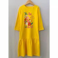 Baju gamis anak kaos baju muslim anak perempuan baju anak perempuan - Kuning, Size 2th