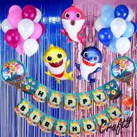 [PAKET] Birthday Set OCEAN BABY SHARK Tiruan Dekorasi Backdrop Ultah - Pink, DGN Tirai