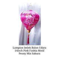 Lampion Imlek Balon Udara Pink Fushia 14in Motif Pink Peony Mix Sakura